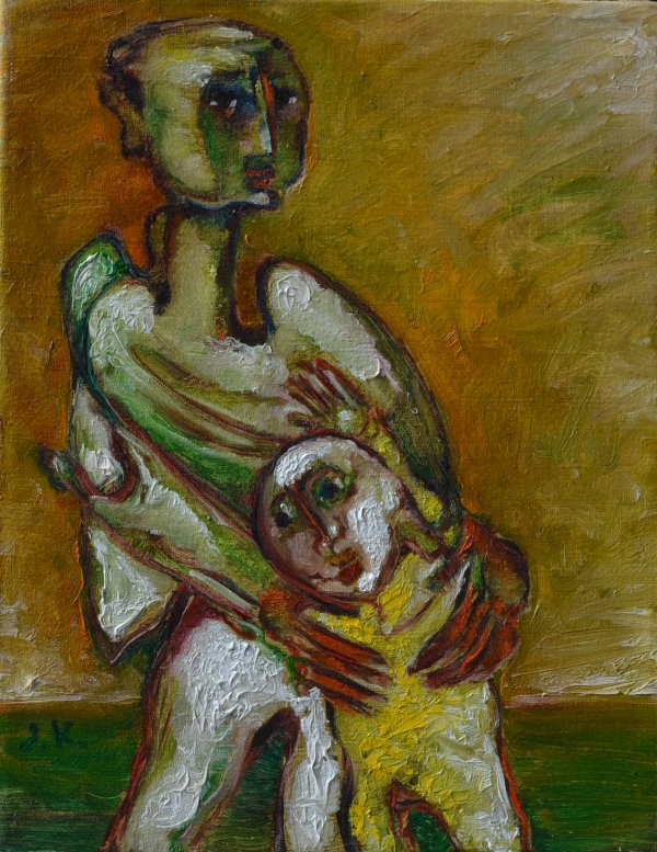 Father Hugging his Son 27 X 35